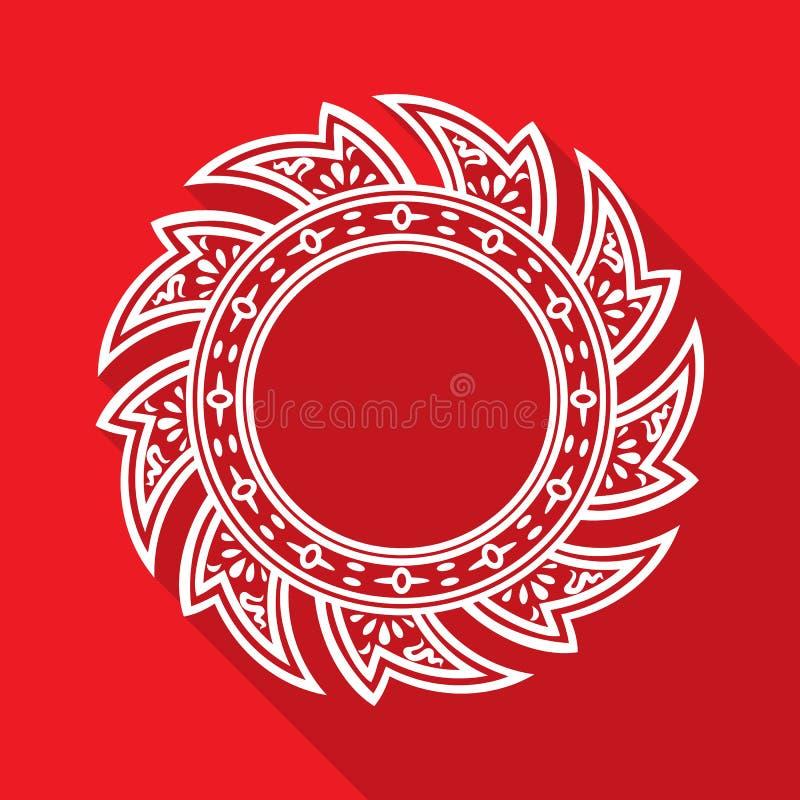 Rodaja de espuela blanca del estilo tailandés abstracto aislada en fondo rojo Ilustraci?n del vector libre illustration