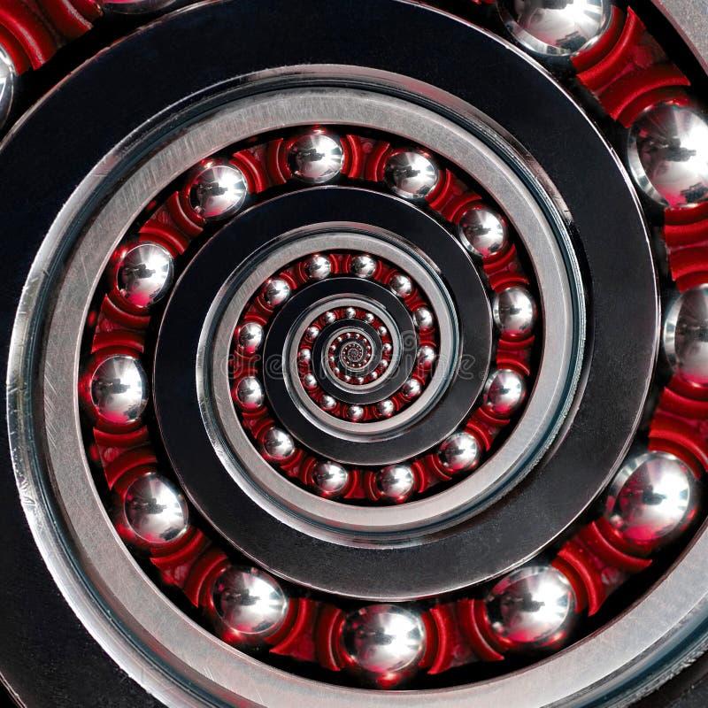 Rodamiento de bolitas industrial espiral rojo a la derecha del fractal abstracto inusual hermoso Efecto espiral del fractal del t fotos de archivo