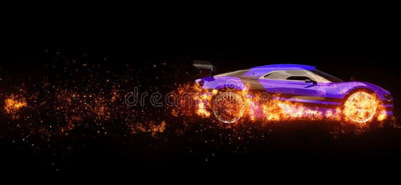Rodas automobilísticos dos esportes super roxos no fogo ilustração royalty free