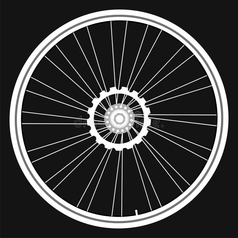 Rodas de bicicleta brancas do vetor no fundo preto ilustração do vetor