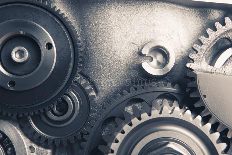Rodas de engrenagem do motor, fundo industrial fotos de stock royalty free