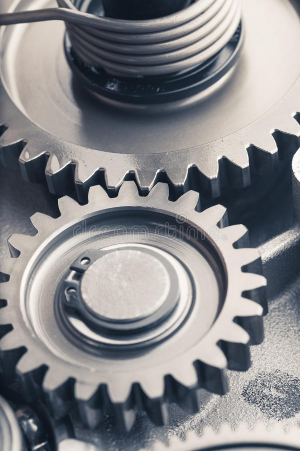 Rodas de engrenagem do motor, fundo industrial imagem de stock