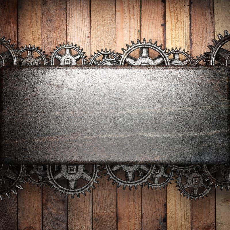 Rodas de engrenagem na madeira ilustração do vetor