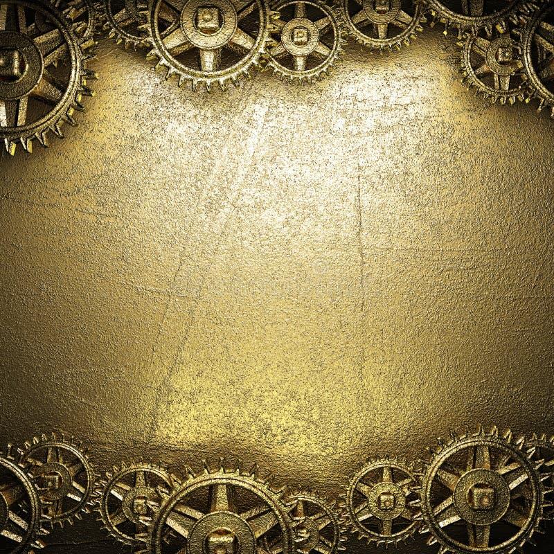 Rodas de engrenagem no ouro ilustração stock
