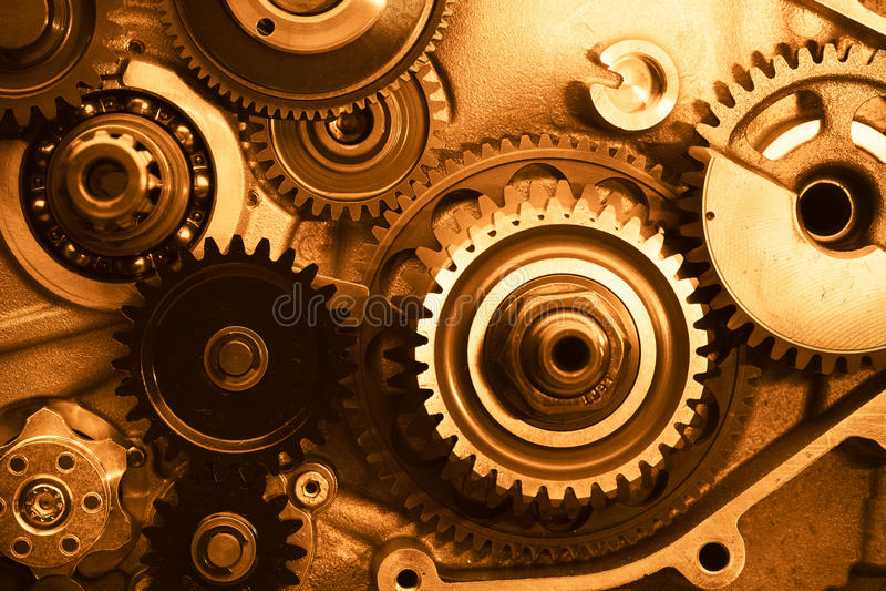 Rodas de engrenagens do motor imagens de stock royalty free
