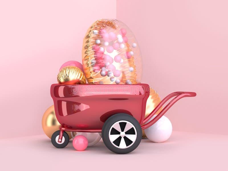 rodas de vagão vermelhas metálicas da rendição 3d e grupo claro do balão do ouro ilustração royalty free