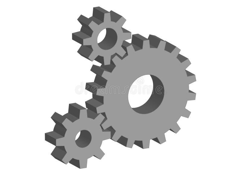 rodas denteadas 3D ilustração stock