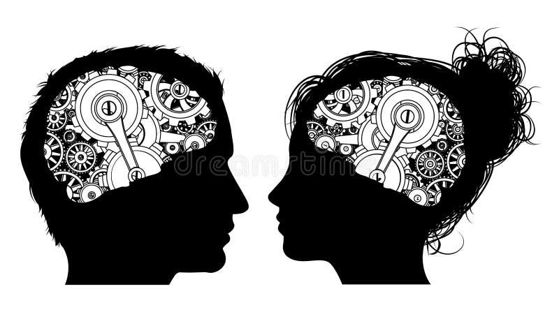 Rodas denteadas Brain Concept das engrenagens ilustração do vetor