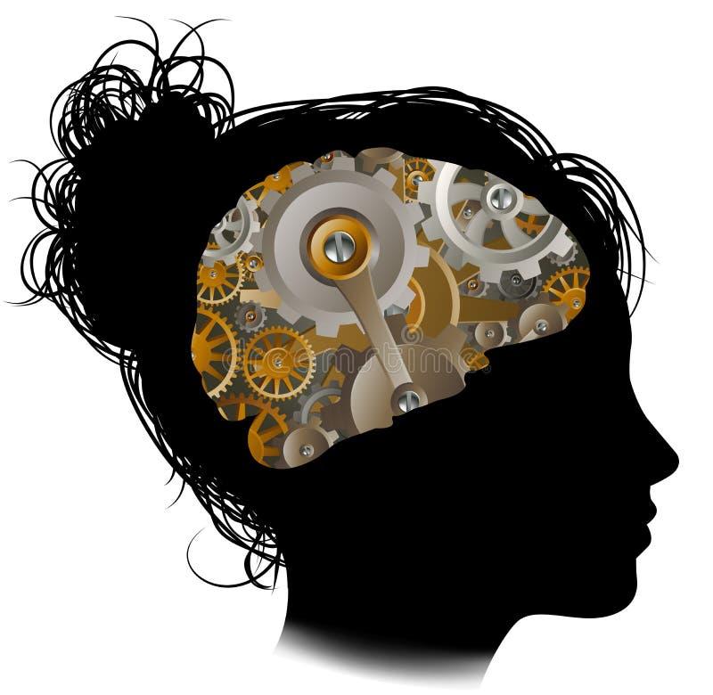 Rodas denteadas Brain Woman das engrenagens de funcionamentos da máquina ilustração do vetor