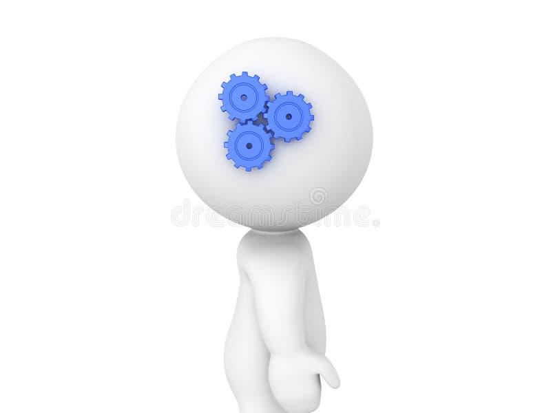 rodas denteadas 3D de giro no lado de uma cabeça do ` s da pessoa ilustração do vetor