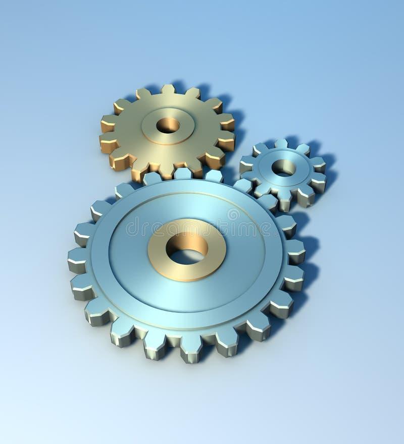 rodas denteadas do metal 3D ilustração do vetor