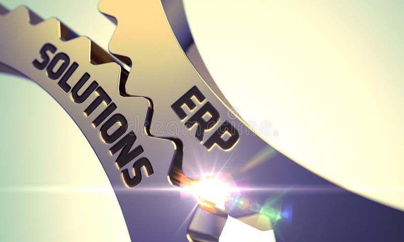 Rodas denteadas douradas com conceito das soluções do ERP 3d ilustração stock