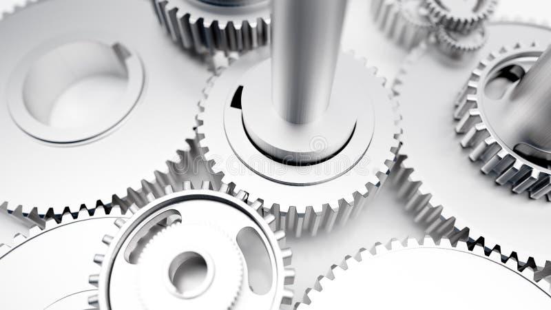 Rodas denteadas industriais amolgadas das engrenagens lustrosas de aço foto de stock
