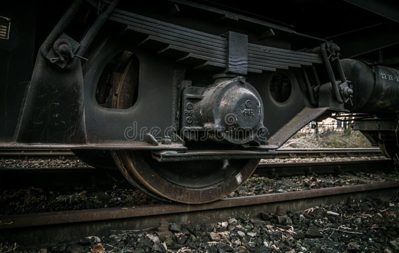 Rodas do comboio fechadas fotos de stock