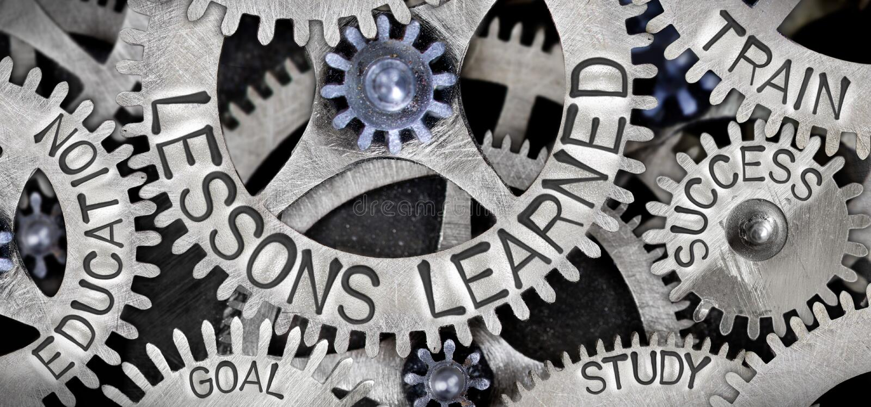 Rodas do metal com conceito instruído das lições imagem de stock