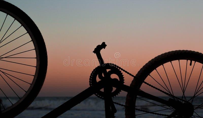 Rodas e pedal de bicicleta no por do sol foto de stock royalty free