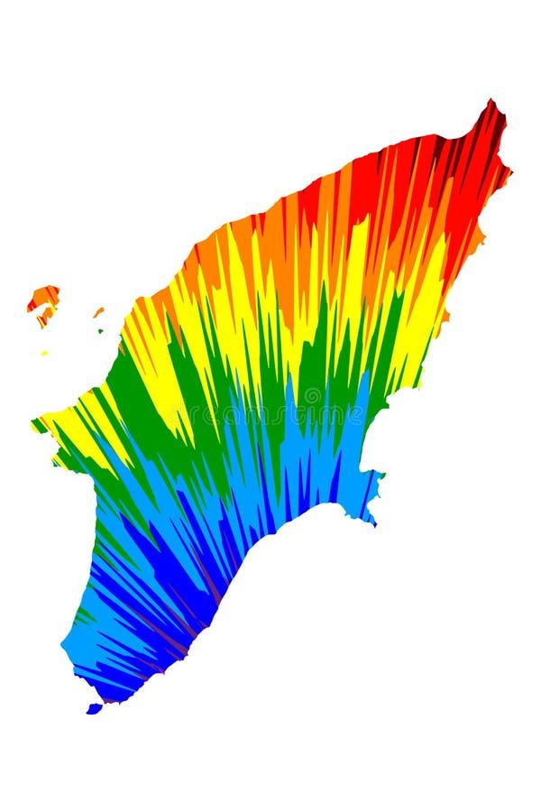 Rodas - el mapa es modelo colorido diseñado del extracto del arco iris, mapa de la isla de Rodas hizo de la explosión del color stock de ilustración