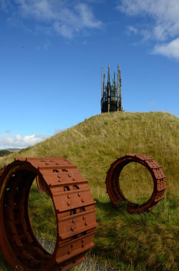 Rodas oxidadas - regeneração do antigo local Opencast foto de stock royalty free