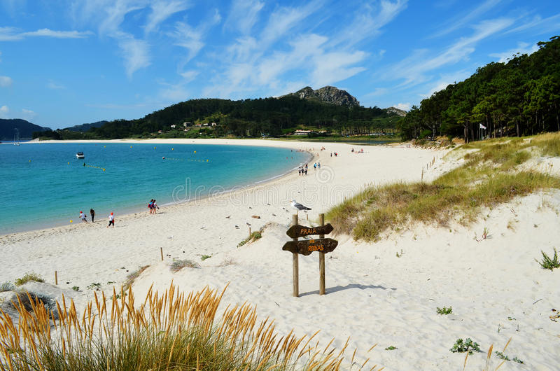 Rodas plaża (Cies wyspy Galicia, Hiszpania,) fotografia stock