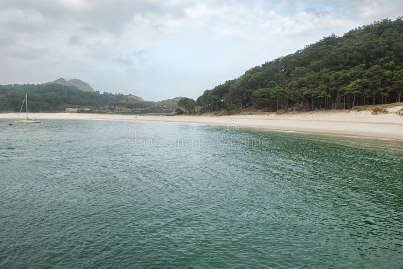 Rodas plaża na Cies wyspach naturalny park, Galicia zdjęcie stock