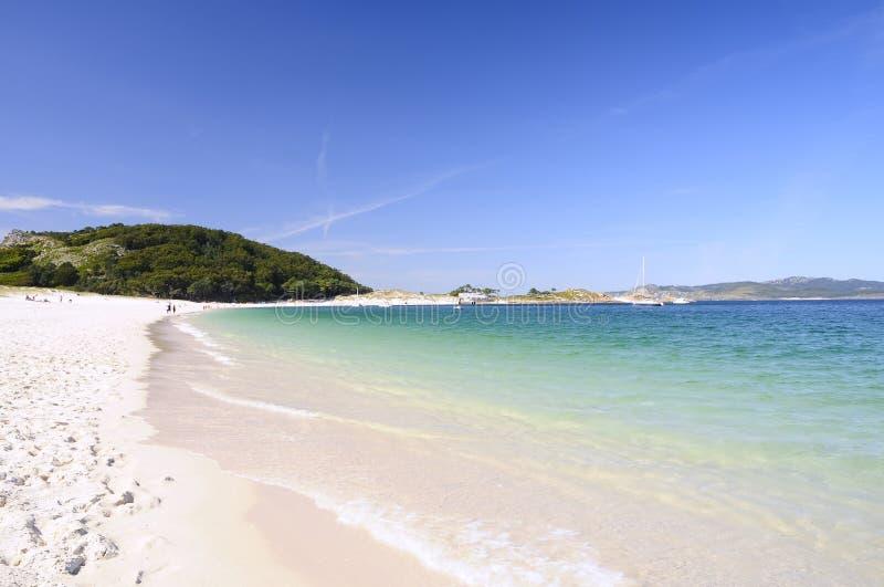Rodas plaża w wyspach Cies zdjęcia stock