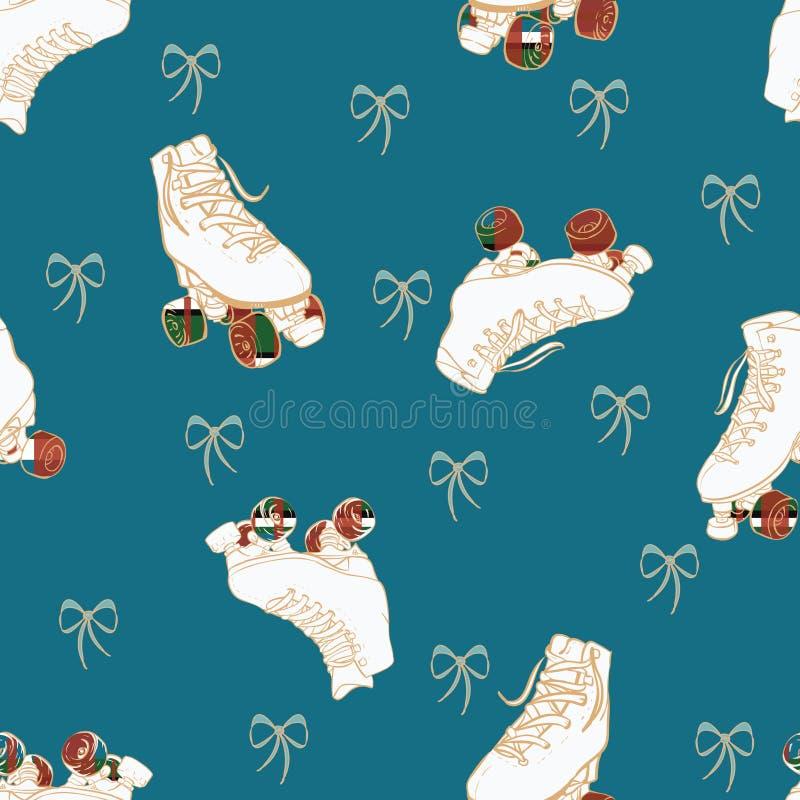 Rodas quadriculados dos patins de rolo do Natal do vetor e fundo sem emenda do teste padrão das curvas do laço ilustração royalty free