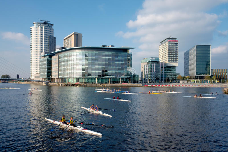 rodd för stadsengland manchester regatta royaltyfria foton