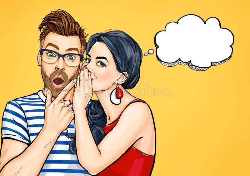 Roddelpaar Verbaasde man en vrouw die over iets spreken Het gesprek van pop-artmensen vector illustratie