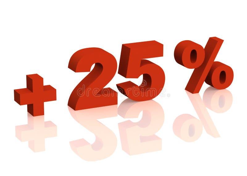 Rode 3d inschrijving - plus van vijfentwintig percenten stock illustratie