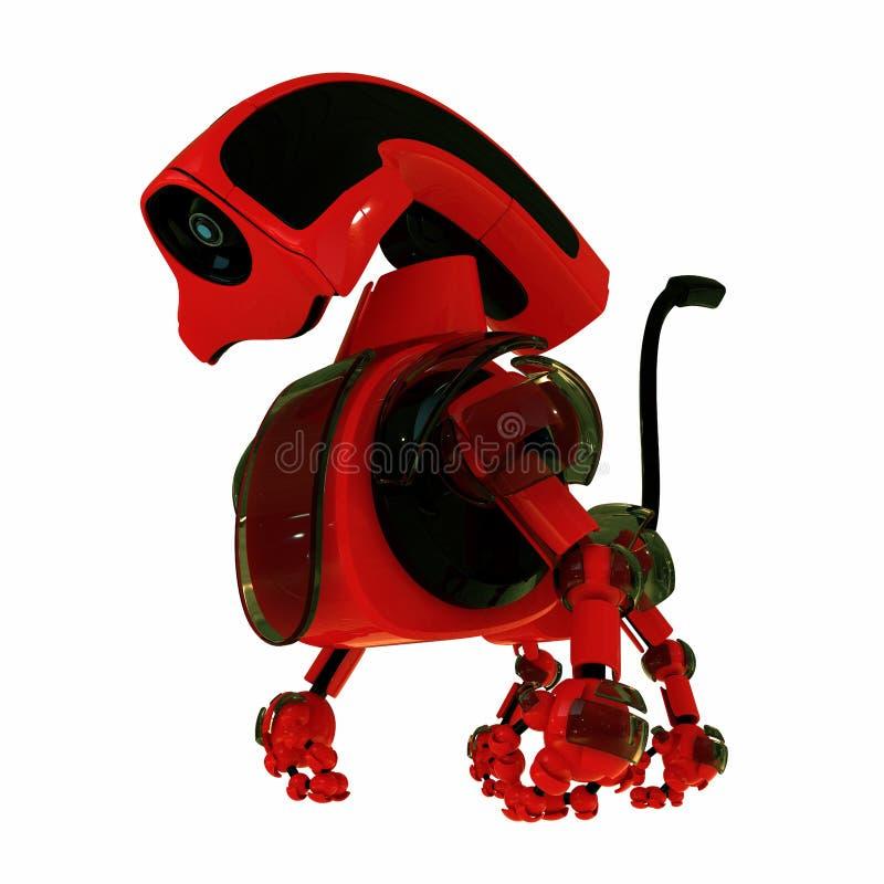 Rode 3d robotachtige stuk speelgoed hond stock illustratie