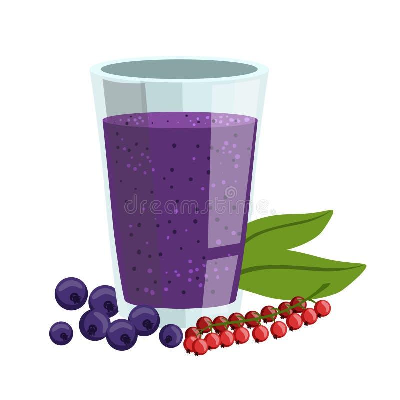 Rode aalbes en Bosbes Smoothie, Niet-alkoholische Verse Cocktail in een Glas en de Ingrediënten voor Vector het vector illustratie