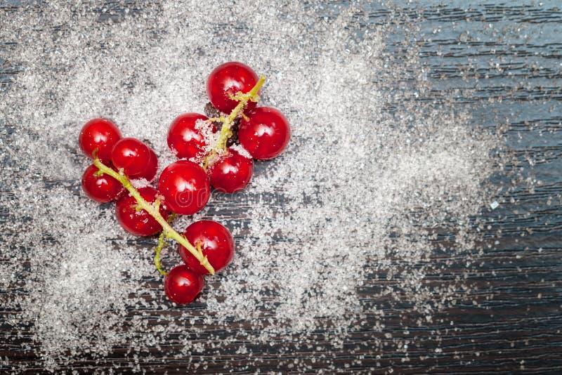 Rode aalbesbessen met suiker worden bestrooid die royalty-vrije stock foto