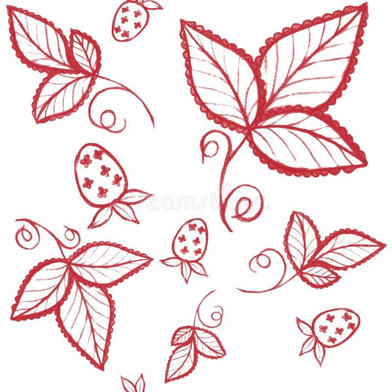 Rode aardbei en bladeren naadloos patroon hand getrokken inkt illust royalty-vrije stock afbeeldingen