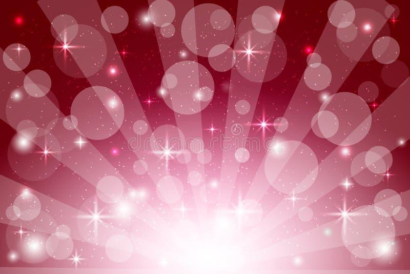 Rode abstracte achtergrond - zonnestraal, starburst - feestelijk Kerstmismalplaatje vector illustratie