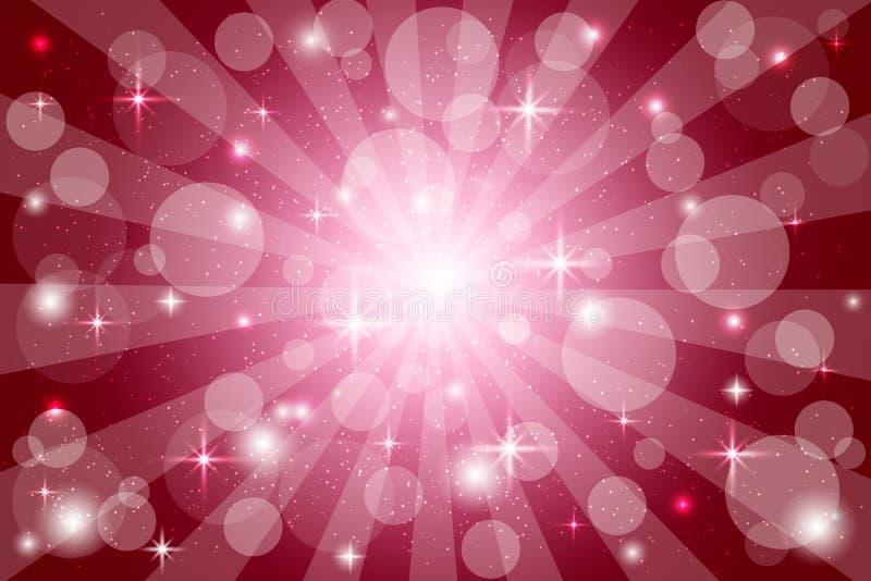 Rode abstracte achtergrondzonnestraalachtergrond met fonkelingen en stralen, vectorillustratie met bokehlichten royalty-vrije illustratie