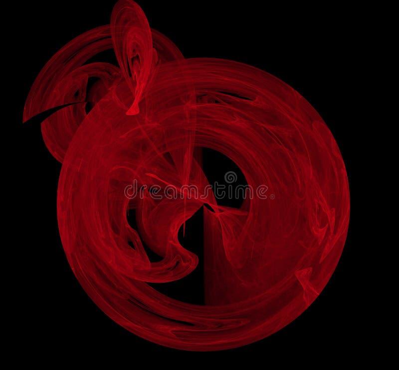 Rode abstracte fractal op zwarte achtergrond Fantasiefractal textuur Digitaal art het 3d teruggeven Computer geproduceerd beeld vector illustratie