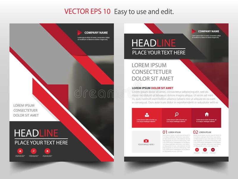 Rode abstracte van het de brochureontwerp van het driehoeks jaarverslag het malplaatjevector Affiche van het bedrijfsvliegers de  vector illustratie