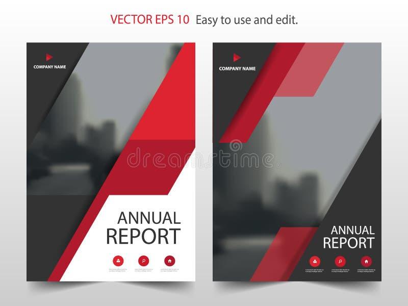 Rode abstracte van het het jaarverslagontwerp van de driehoeksbrochure het malplaatjevector Affiche van het bedrijfsvliegers de i stock illustratie
