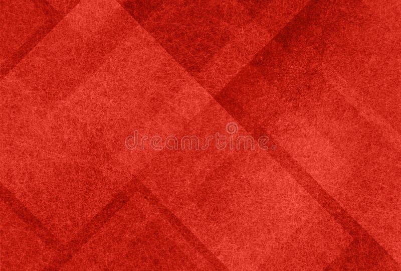 Rode achtergrond met abstracte lagen transparante vierkanten en driehoeksvormen in willekeurig ontwerppatroon royalty-vrije illustratie