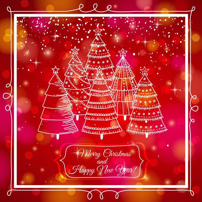 Rode achtergrond met bos van Kerstmisbomen, vec royalty-vrije illustratie