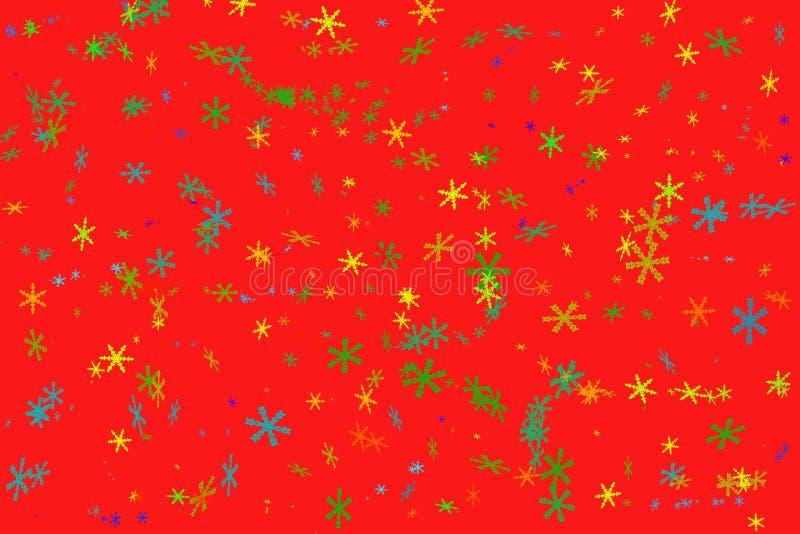 Rode achtergrond met kleurrijke sneeuwvlokken royalty-vrije stock afbeeldingen