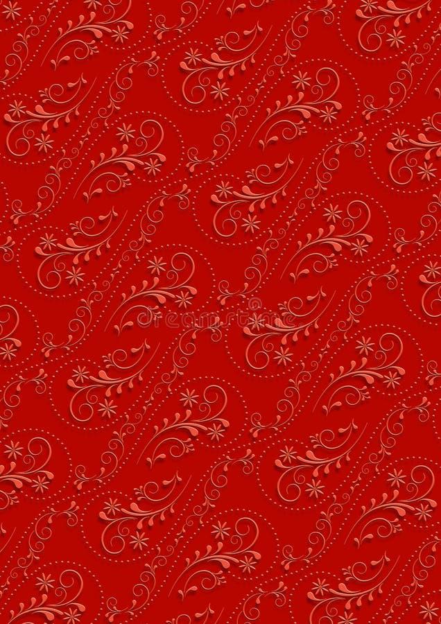 Rode achtergrond met pinkseamlessvintageornament stock afbeelding