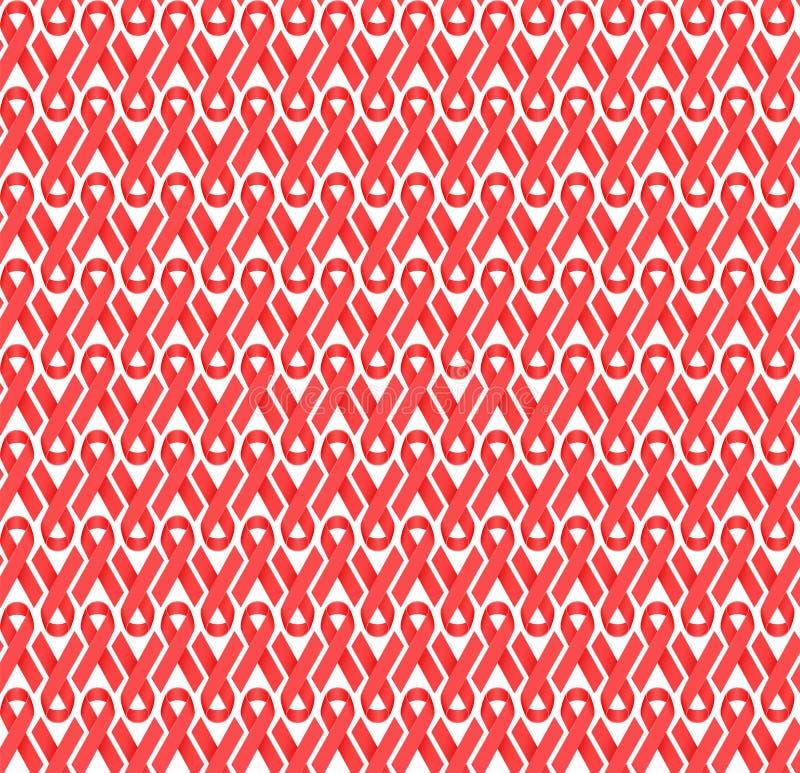 Rode AIDS-het lint vectorachtergrond van het voorlichtingssatijn stock illustratie