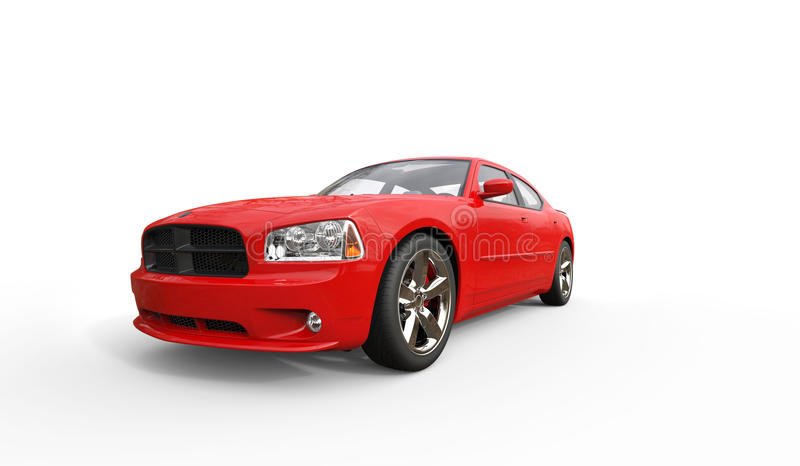 Rode Amerikaanse Auto royalty-vrije illustratie
