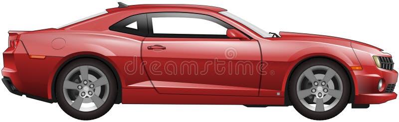 Rode Amerikaanse spierauto stock afbeeldingen