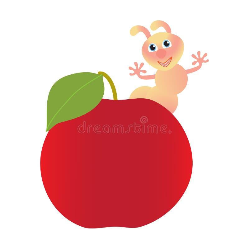 Rode appel en roze worm royalty-vrije illustratie