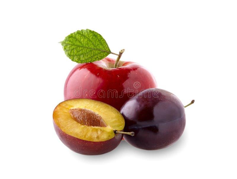 Rode appel met blad en pruimen op witte achtergrond stock afbeelding