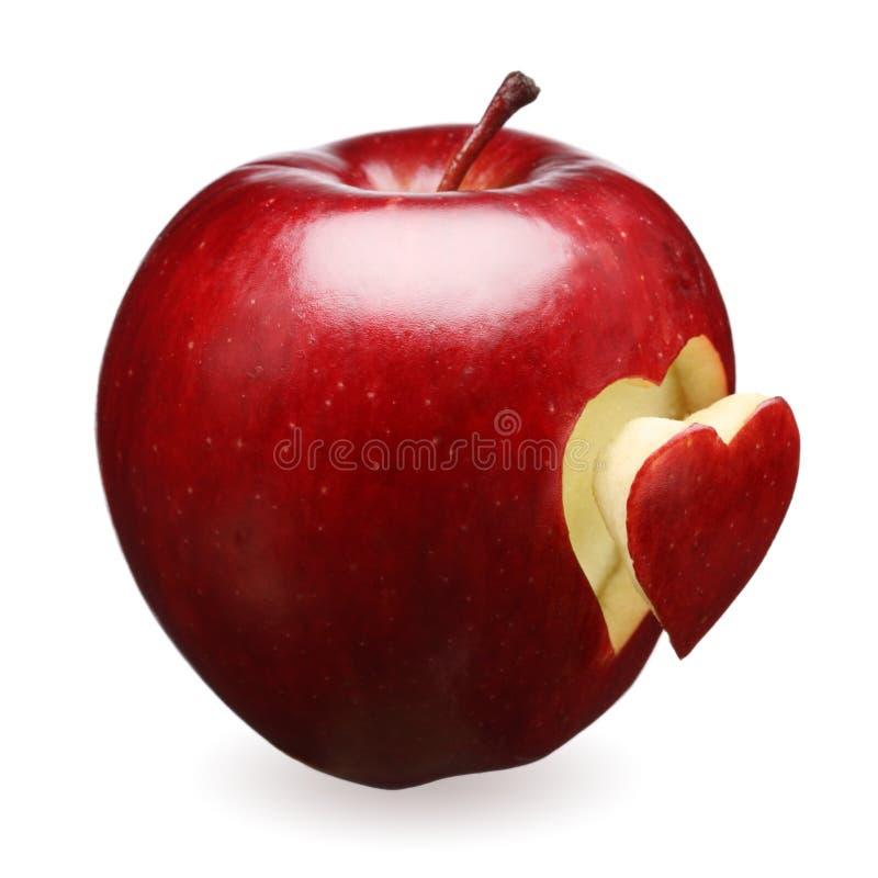 Rode appel met hart royalty-vrije stock afbeeldingen