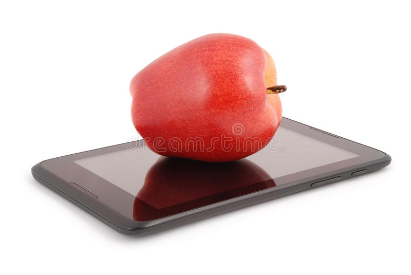 Rode appel op een het Knippen van tabletpc weg stock afbeeldingen