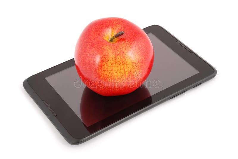Rode appel op een tabletpc (het Knippen weg) royalty-vrije stock afbeelding
